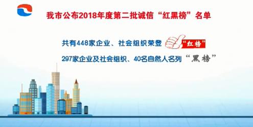 """我市公布2018年度第二批诚信""""红黑榜""""名单"""